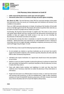 Statement from Pharmacy Union