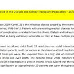 Covid 19 in the Dialysis and Kidney Transplant Population – 25/05/20