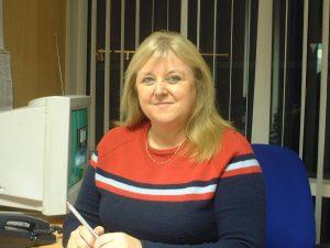 Lorraine Costello at her desk in Park West, November 2003.