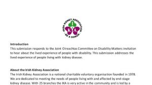 IKA Submission To The Joint Oireachtas Committee on Disability Matters