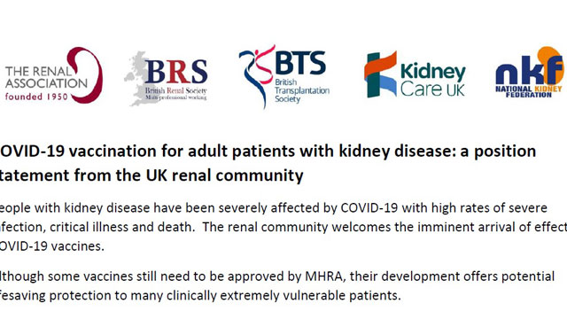 UK Renal Community Position Statement on Covid-19 Vaccination