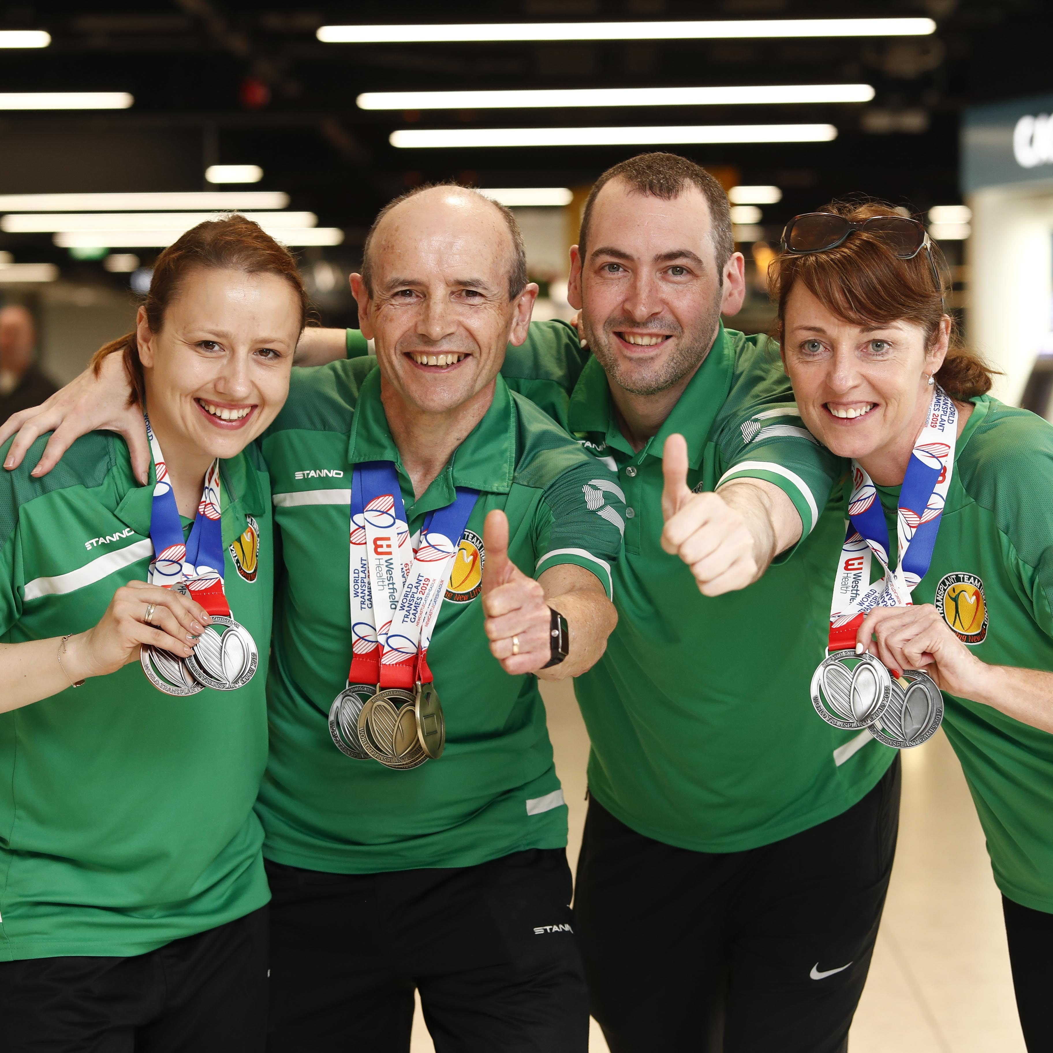 *** NO REPRODUCTION FEE *** DUBLIN : 24/8/2019 : Team Ireland returns home from World Transplant Games with mighty haul of 50 medals. Pictured was Transplant Team Ireland team members arriving back to Dublin Airport from the World Transplant Games 2019 held in Newcastle Gateshead, UK. 38 members of Transplant Team Ireland returned home this weekend from an unforgettable week-long World Transplant Games which were held in Newcastle Gateshead, UK.  The Irish team including heart, lung, liver, bone marrow and kidney transplant recipients, which ranges in age from 16 to 81, had a final medals tally of 50 medals including 17 Gold, 18 Silver and 15 Bronze which earned them a respectable 11th place on the leader board amongst 56 countries some with larger teams and the host country GB&NI was placed first with its 320 participants. The team's participation at the games was managed by the Irish Kidney Association who are hoping to attract more people to the team when they host the 2020 European Transplant & Dialysis Sports Championships in Dublin from 2-9 August. Picture Conor McCabe Photography.   MEDIA CONTACT : Gwen O'Donoghue mob. 086 8241447 email gwenodonoghue1@gmail.com